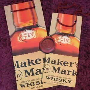 2 Maker's Mark gift bags and a gift tag